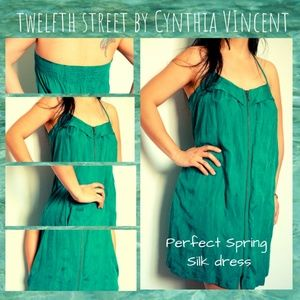 Twelfth Street by Cynthia Vincent Silk Green Dress